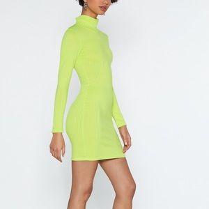 Light Green - Mock On Ribbed Dress / Nasty Gal